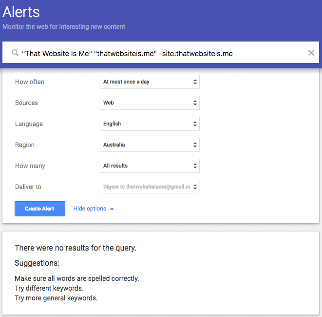 Google Alerts Extra Options Example